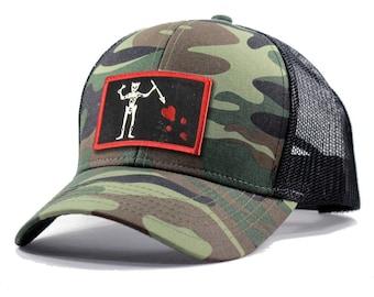 Homeland Tees Blackbeard Pirate Flag Army Camo Trucker Hat