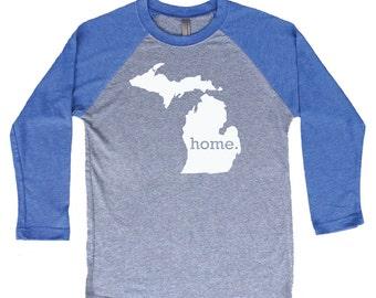 Homeland Tees Michigan Home Tri-Blend Raglan Baseball Shirt