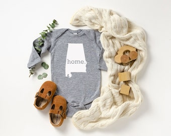 Homeland Tees Alabama Home Unisex Long Sleeve Baby Bodysuit