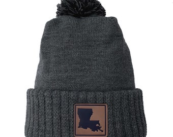 Homeland Tees Louisiana Leather Patch Cuff Beanie