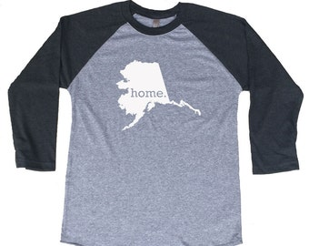 Homeland Tees Alaska Home Tri-Blend Raglan Baseball Shirt