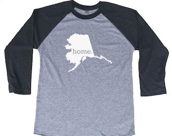 Homeland Tees Alaska Home Tri-Blend Raglan Baseball Shirt