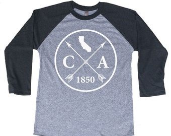 Homeland Tees California Arrow Tri-Blend Raglan Baseball Shirt