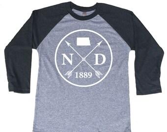 Homeland Tees North Dakota Arrow Tri-Blend Raglan Baseball Shirt