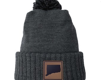 Homeland Tees Connecticut Leather Patch Cuff Beanie