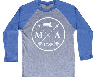 Homeland Tees Massachusetts Arrow Tri-Blend Raglan Baseball Shirt