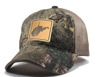 Homeland Tees West Virginia Leather Patch Hat - Realtree Camo Trucker