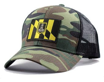 Homeland Tees Baltimore Flag Hat - Army Camo Trucker
