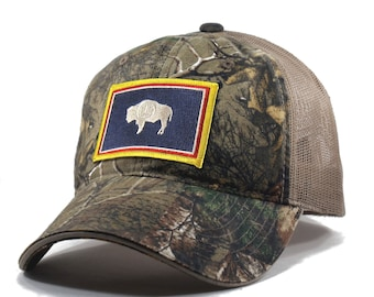Homeland Tees Wyoming Flag Hat - Realtree Camo Trucker