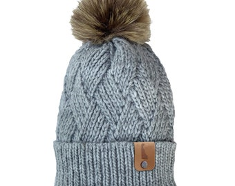 Homeland Tees Delaware Leather Label Faux Fur Pom Beanie