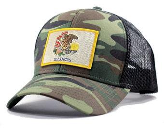 Homeland Tees Illinois Flag Hat - Army Camo Trucker