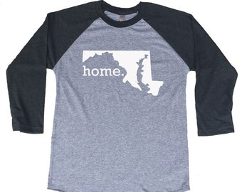 Homeland Tees Maryland Home Tri-Blend Raglan Baseball Shirt