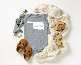 Homeland Tees Oklahoma Home Unisex Long Sleeve Baby Bodysuit