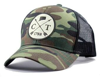 Homeland Tees Connecticut Arrow Hat - Army Camo Trucker