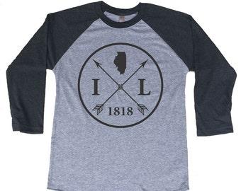 Homeland Tees Illinois Arrow Tri-Blend Raglan Baseball Shirt