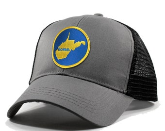 Homeland Tees West Virginia Home Trucker Hat - Blue and Gold Patch
