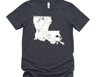 Homeland Tees Louisiana State Vintage Look Distressed Unisex T-shirt