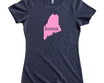 Maine Home State T-Shirt Women's Tee PINK EDITION - Sizes S-XXL