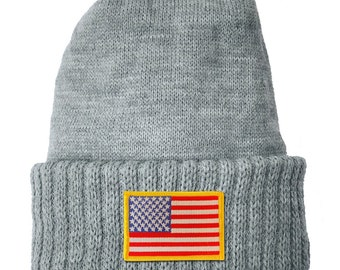 ca1934b1 Homeland Tees USA Flag Patch Cuff Beanie
