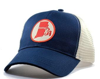 da0a6e23687 Homeland Tees Rhode Island Home Trucker Hat - Red Patch