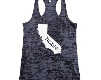 Homeland Tees California Home Burnout Racerback Tank Top - Women's Workout Tank Top