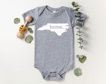 Homeland Tees North Carolina Home Bodysuit Coming Home Outfit Shower Gift Newborn Baby Boy Girl