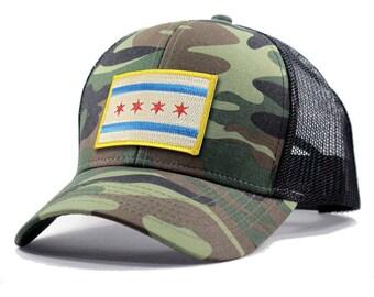 Homeland Tees Chicago Flag Hat - Army Camo Trucker