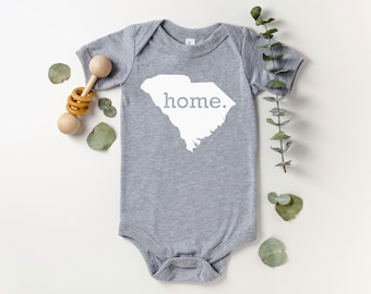 Homeland Tees South Carolina Home Bodysuit Coming Home Outfit Shower Gift Newborn Baby Boy Girl
