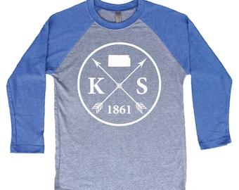 Homeland Tees Kansas Arrow Tri-Blend Raglan Baseball Shirt