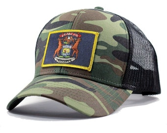 Homeland Tees Michigan Flag Hat - Army Camo Trucker