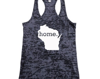 Wisconsin Home Burnout Racerback Tank Top - Women's Workout Tank Top