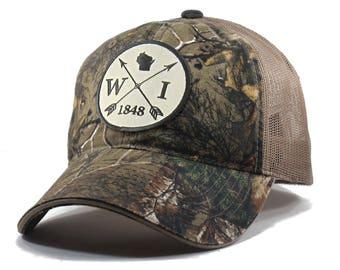 Homeland Tees Wisconsin Arrow Hat - Realtree Camo Trucker