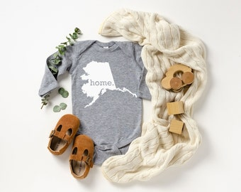 Homeland Tees Alaska Home Unisex Long Sleeve Baby Bodysuit