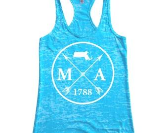 Homeland Tees Massachusetts Arrow Women's Burnout Racerback Tank Top