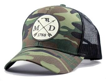Homeland Tees Maryland Arrow Hat - Army Camo Trucker