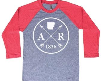 Homeland Tees Arkansas Arrow Tri-Blend Raglan Baseball Shirt