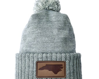 Homeland Tees North Carolina Leather Patch Cuff Beanie