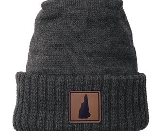 Homeland Tees New Hampshire Leather Patch Cuff Beanie