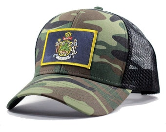 Homeland Tees Maine Flag Hat - Army Camo Trucker