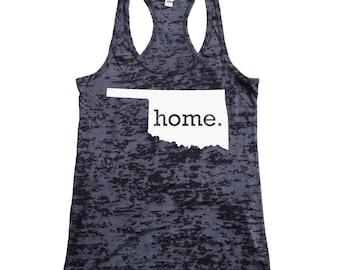 Oklahoma Home Burnout Racerback Tank Top - Women's Workout Tank Top