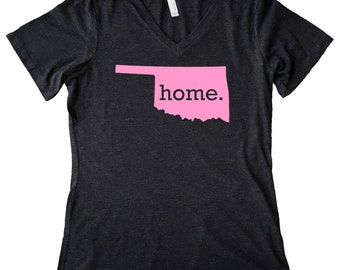 V Neck Oklahoma Home State T-Shirt Women's Triblend PINK EDITION Tee - Sizes S-XXL