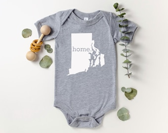 Homeland Tees Rhode Island Home Bodysuit Coming Home Outfit Shower Gift Newborn Baby Boy Girl