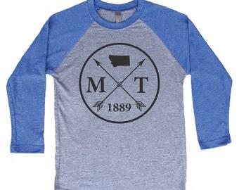 Homeland Tees Montana Arrow Tri-Blend Raglan Baseball Shirt