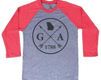 Homeland Tees Georgia Arrow Tri-Blend Raglan Baseball Shirt