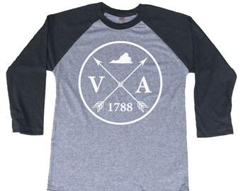 Homeland Tees Virginia Arrow Tri-Blend Raglan Baseball Shirt