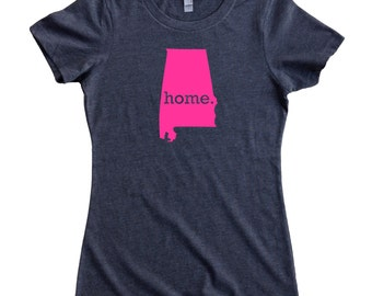 Homeland Tees Alabama Home State Women's T-Shirt PINK EDITION