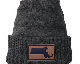 Homeland Tees Massachusetts Leather Patch Cuff Beanie