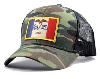 Homeland Tees Iowa Flag Hat - Army Camo Trucker