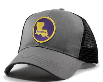 Homeland Tees Louisiana Home Trucker Hat - Purple and Gold Patch