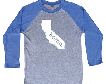 Homeland Tees California Home Tri-Blend Raglan Baseball Shirt